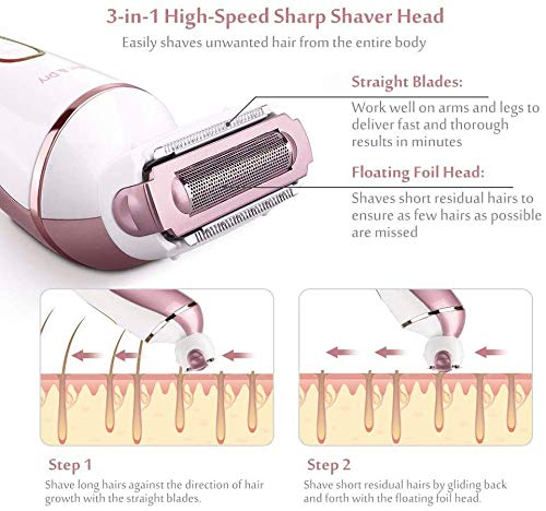 Electric Shaver for Women,6 in 1 Lady Electric Wet/Dry Shaver for Legs & Underarms, Cordless Electric Razor with 2…