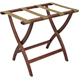 Folding Solid Oak Deluxe Luggage Rack w Four Support Straps (Dark Red Mahogany with Tan Webbing)
