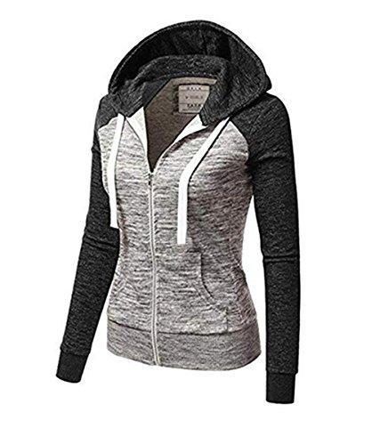 Femme Longues Zipp Sport Capuche ZIYYOOHY Manches Sweatshirt Veste Automne UFdUqB