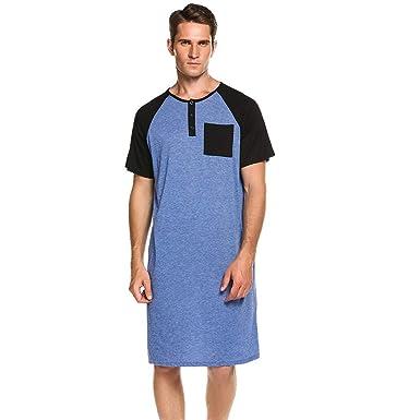 dc9b460310 Elesoi Herren Comfort Henley Kurzarm Nachthemd Patchwork Schlafhemd  Nachtwäsche Schlafanzüge