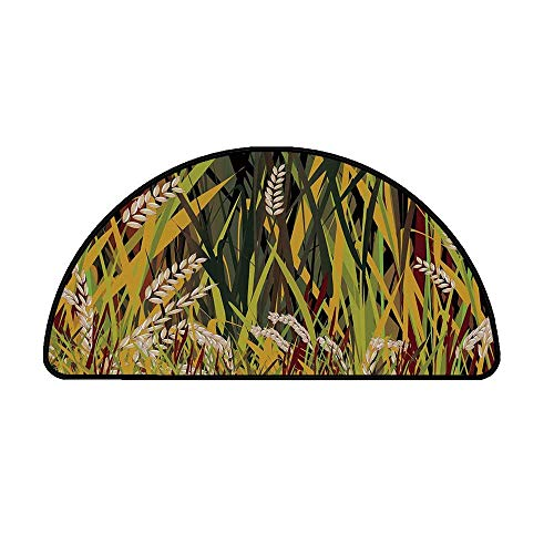 Nature Comfortable Semicircle Mat,Reeds Dried Leaves Wheat River Wild Plant Forest Farm Country Life Art Print Image for Living Room,19.6