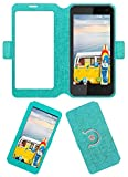 Acm SVIEW Window Designer Rotating Flip Flap Case for Micromax Bolt Q339 Mobile Smart View Cover Stand Turquoise
