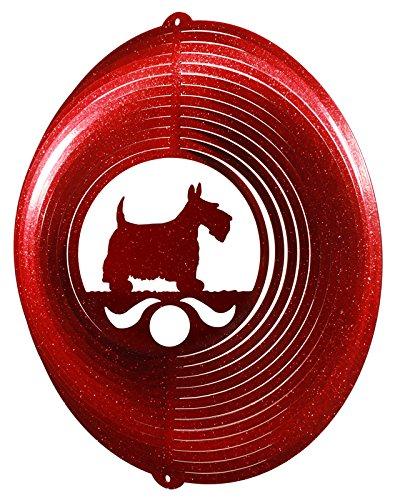 SCOTTISH TERRIER Circle Swirly Metal Wind Spinner (Metal Sculpture Terrier)