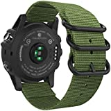 26mm Sport Nylon Replacement Watch Band Strap with Screw Tools for Garmin Fenix 5X/3/3 HR/D2 Charlie-green