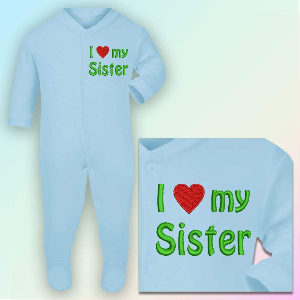 Royal Blue Thread I Love My Sister 0-3 Months Embroidered Sleepsuit in Baby Blue