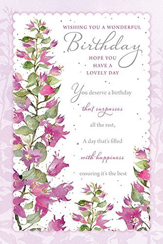 wishing you wonderful happy birthday purple flowers new greeting card