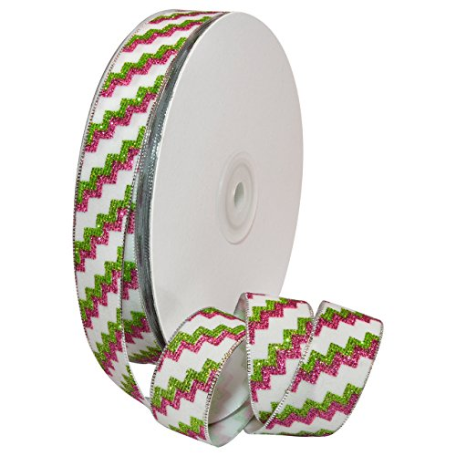 Zig Zag Tree Decoration - Morex Ribbon 8697.05/25-601 Polyester Zig Zag Glitter Ribbon, 7/8