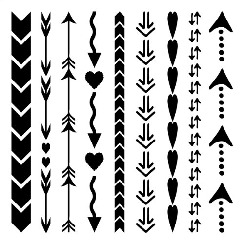UPC 842254013968, Crafters Workshop Template, 12 by 12-Inch, Arrows and Hearts