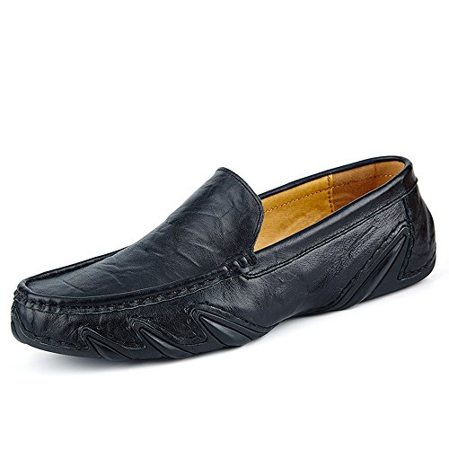 Sanyes Mens Shoes Leather Shoes Mens Slip On Loafers Mens Casual Shoes SYDDX25-Black-44