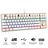 Teamwolf 87 Key Gaming Mechanical Keyboard with Customize Blue Switches, LED Backlit Anti-ghosting Keys for PC & Mac Gamer (White)