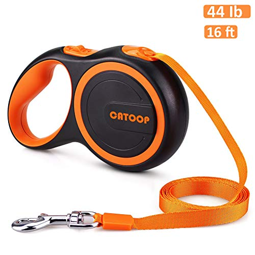 CATOOP Retractable Dog Leash, 360° Tangle-Free, Heavy Duty Pet Dog Leash with Anti-Slip Handle, 16 ft Strong Nylon Tape/Ribbon, One-Handed Brake, Pause, Lock (Orange)
