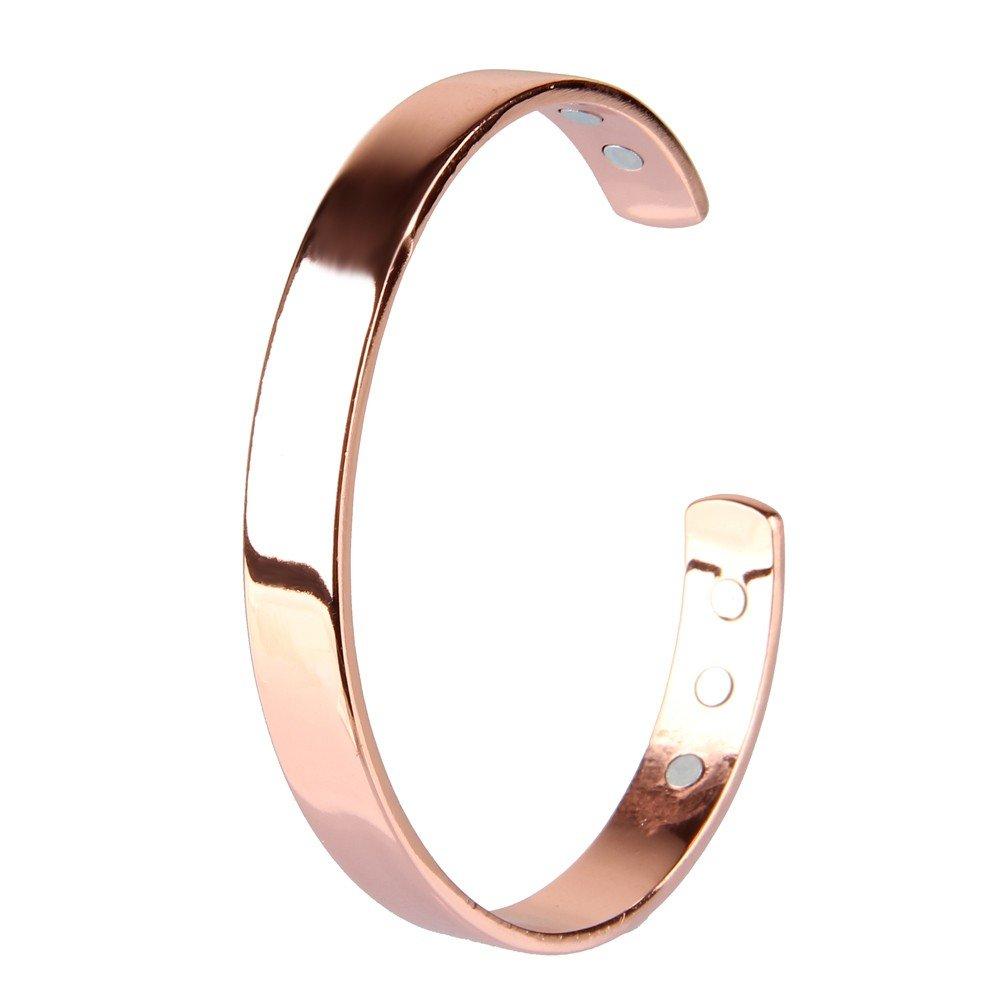 Beauty7 Chapado en Oro Rosa Pulsera Magné tica de Cobre para Regalo Artritis Hombres Mujeres Unisex Muñ ecas Moda Mano Collar Salud Perí metro 19 cm bracelet00197es