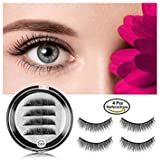 #3: Magnetic Eyelashes 3 Magnets LeifLea Magnetic Lashes Natural Full Eye Magnetic Fake Lashes Ultra Thin Magnet Eyelashes 3D False Eyelashes 3  Lash Magnetic (1 Pair/4 Pcs)