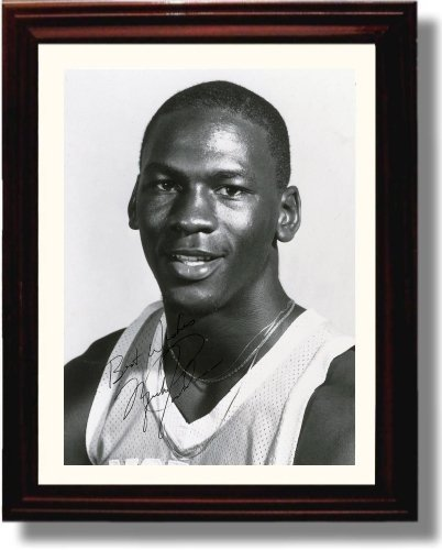 (Framed Michael Jordan Autograph Replica Print - North Carolina Tarheels)