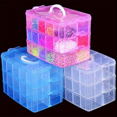 Baost Detachable Clear Holder Sewing Storage Container Case with White
