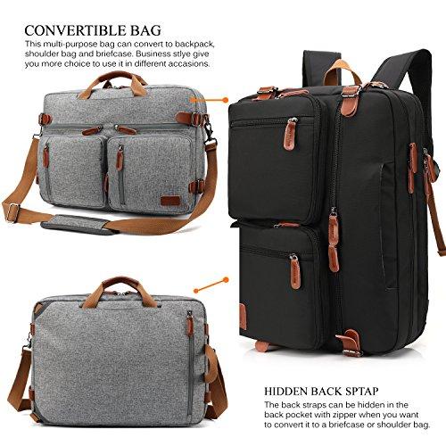 CoolBELL Convertible Backpack Messenger Bag Shoulder Bag Laptop Case Handbag Business Briefcase Multi-Functional Travel Rucksack Fits 15.6 Inch Laptop for Men/Women (Grey) by CoolBELL (Image #1)