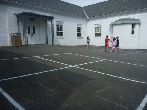 Four-Square Court Stencil - 16 ft x 16 ft with diagram - 60 mil ultraflex ind by Stencil Ease