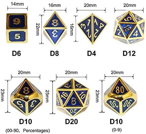 Tisch Spiel W/ürfel f/ür D?D Dungeons and Dragons Pathfinder DND RPG MTG D4 D6 D8 D10 D12 D20 7 St/ücke Metall W/ürfel Set Solides Metall Rollenspiele FD2LB1NVL Polyedrische W/ürfel