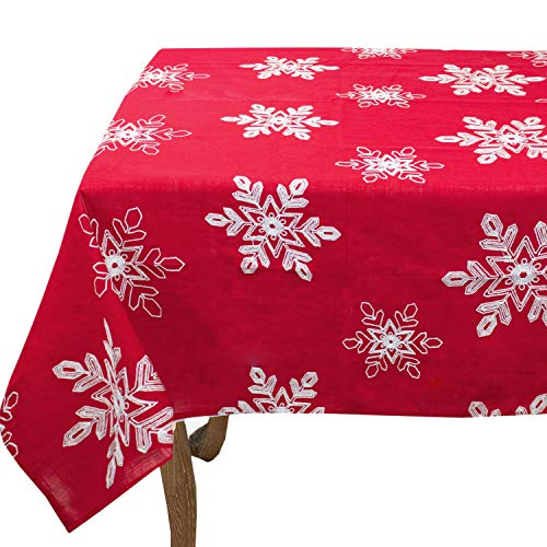 Fennco Styles Embroidered White Snowflake Holiday Christmas Red Tablecloth (60