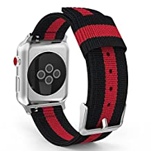 MoKo Strap for Apple Watch Series 3 Bands, Fine Woven Nylon Adjustable Replacement Band Sport Strap for iWatch 42mm 2017 Series 3 / 2 / 1, Black & Red (Not fit 38mm Versions)