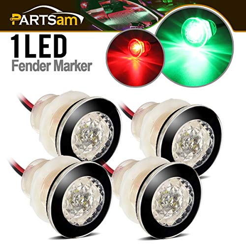 Light Flush Stern (Partsam 4 Pcs Marine Boat Flush Head LED Livewell Round Button Courtesy Lights Submersible, 1-1/4