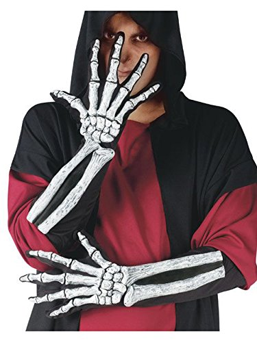 Skeleton Hand Gloves with Bone Sleeve - Skeleton Bone Gloves