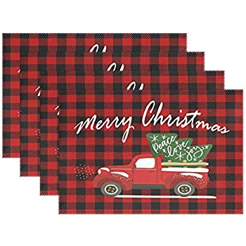 visesunny Merry Christmas Red Buffalo Plaid Truck Placemat Set of 4 Table Mat Desktop Decoration Placemats Non Slip Stain Heat Resistant 12x18 in for Dining Home Kitchen Indoor