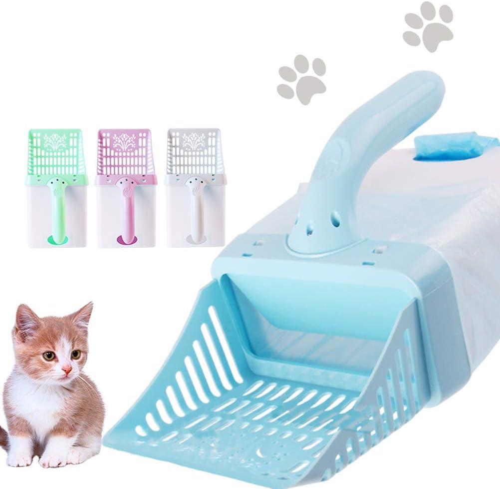 Faviye Cuchara de estiércol Cucharada de plástico Cuchara de Arena para Gatos con Cubo de Basura para Herramientas de Limpieza de Arena para Gatos Set Suministros para Mascotas (Colores aleatorios)