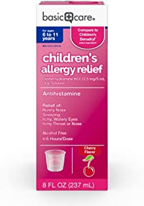Basic Care Children's Allergy Relief, Diphenhydramine HCl 12.5 mg/5 mL Oral Solution, Antihistamine, Cherry Flavor, 8 Fluid Ounces