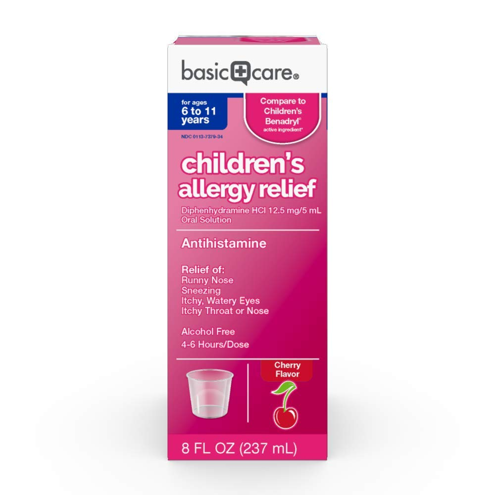 Amazon Basic Care Children's Allergy Relief, Diphenhydramine HCl 12 5 mg 5 mL Oral Solution, cherry 8 Fl Oz