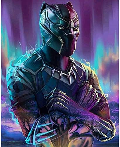 Full Drill Crystal Rhinestone Painting by Number Kits with The Theme of Marvel Black Panther(11.8X15.75 Inch) DIY 5D Diamond Painting Kits for Kids /& Adults