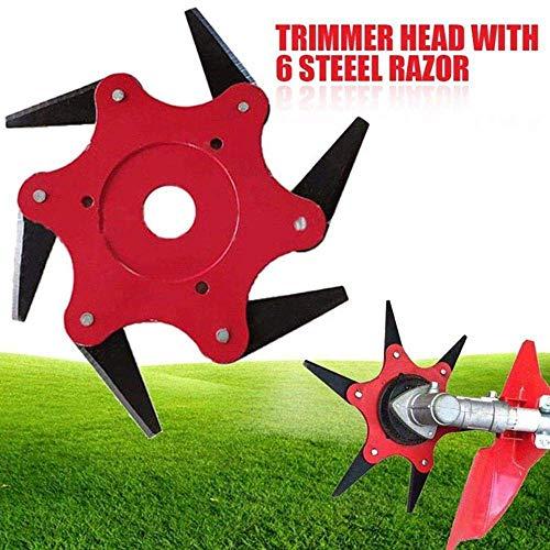 (Womdee Trimmer Head Cutter,Grass Steel Blades Razors,Trimmer Head 6 Steel Blades Razors,65Mn Trimmer Head Cutter for Mower Grass, Brush Cutter Head for String Trimmer (Red))