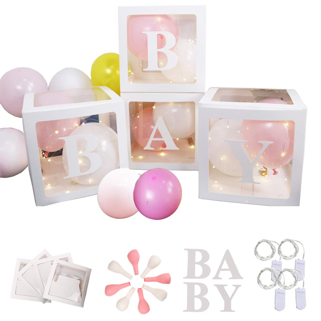 28 pcs party Decorations propose marriage box Fairy Lights for Wedding//Birthday party//Travel Themed Party//Bridal Shower Christmas Decoration with 8 balloon 4 letter 4 Fairy Lights 4 box baby