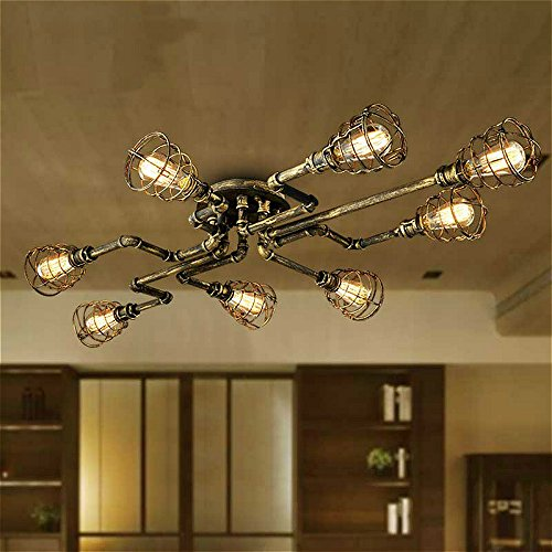 Ladiqi Retro Vintage Water Pipe Barn Pendant Light Hanging Chandelier Lighting Semi Flush Ceiling Light