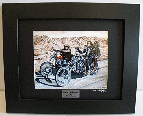 Easy Rider Biker Wall Art Limited Edition Custom Framed Motorcycle Art Print, Indian, Harley Choppers, Signed Numbered w/Certificate - Original Painting by John - Biker Custom Chopper