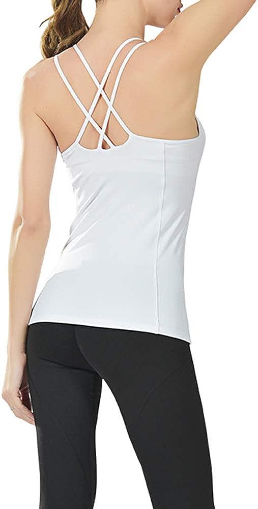 Camiseta sin Mangas de Yoga para Mujer con Espalda Descubierta y Camisetas de Entrenamiento Acolchadas de Malla Transpirable Century Star