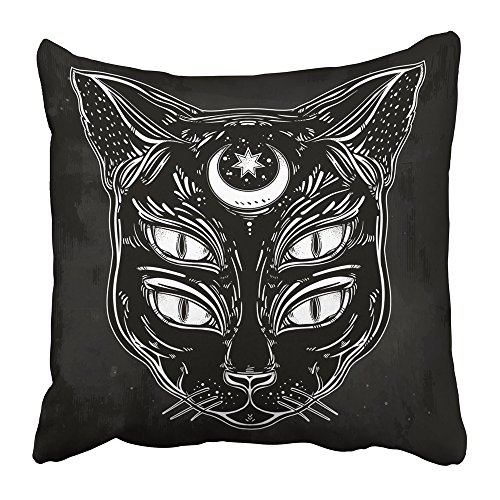 Soksar Throw Pillow Cover Square 20x20 Inch Black Cat Head Portrait with Moon and Four Eyes Eyed Is Ideal Halloween Tattoo Wierd Spirituality Zipper Print Pillowcase Two Side Design Home Sofa Decor