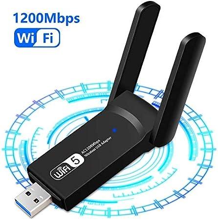 Adaptador inalámbrico WiFi USB 3.0 Adaptador Dual Band (5.8GHz 866Mbps / 2.4GHz 300Mbps) 802.11ac Dongle WiFi Inalámbrico, 2 Antenas WiFi de 5dBi, para Windows XP/Vista/7/8/10, Linx2.6X; Mac OS X