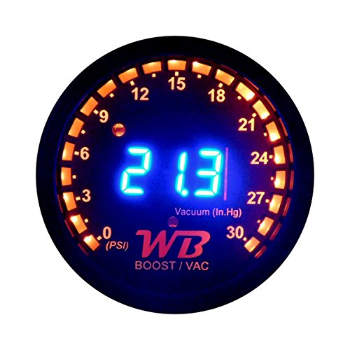 APSX B2 Digital Vacuum/Boost Display Gauge (Blue) (Band Kit Wide Gauge)
