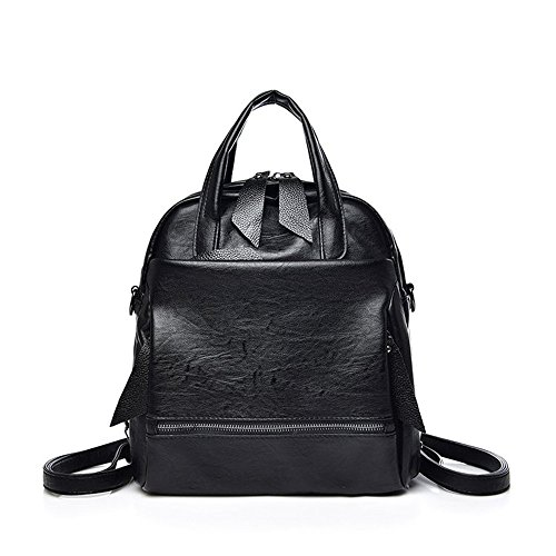 Black PU Shoulder Woman For Backpack Fashion School Girls Cute Purse Leather by Teen and Brown Bag Bags Handbags Alovhad Multifunction Bag 8fIRq
