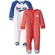 Carter's Boys' 2-Pack Cotton Sleep and Play, Red Stripe/White Sports, 3 Months