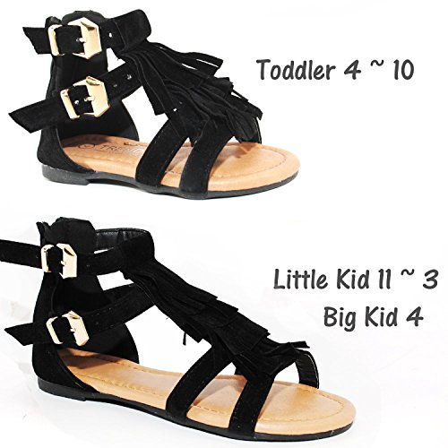 39ad80c256a0 Baby Toddler Girls and Little Girls Strappy Buckled Fringe Gladiator ...