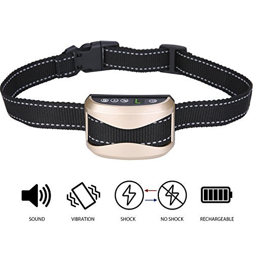 AuAg Bark Collar Adjustable 7 Sensitivity 3 Modes Rechargeable Rainproof No Bark Training Collar Humane Shock Vibration Modes for Small Medium Large Dogs Anti-Bark Collar Lighting Deal until 11 PM by AuAg (Image #1)