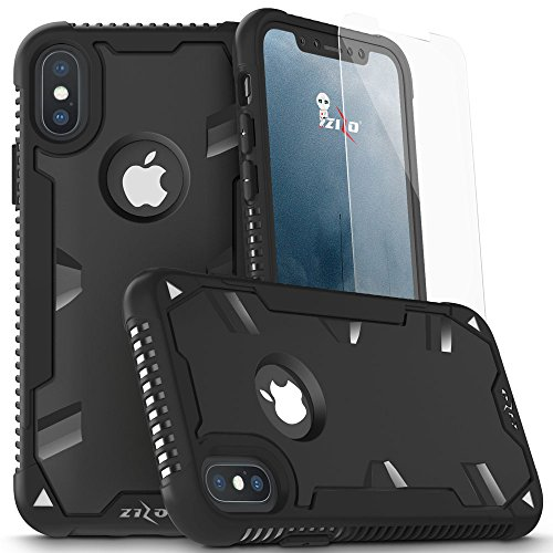 iPhone X Case - Zizo Proton 2.0 Cover [Military Grade Drop Tested] w/ 0.3m 9H [Tempered Glass Screen Protector] Black/Black