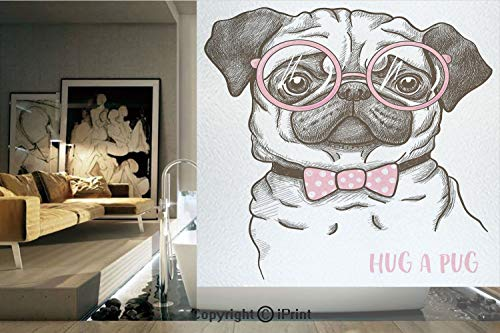 Decorative Privacy Window Film/Cute Pug with Pink Bow Tie Oversized Glasses Hand Drawn Domesticated Decorative/No-Glue Self Static Cling for Home Bedroom Bathroom Kitchen Office Decor Baby Pink White
