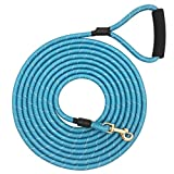 Shorven Nylon Strong Dog Rope Lead Reflective Training Dog Leash with Soft Handle 8-20 FT Long Aqua Blue (Dia:0.5' 10FT)