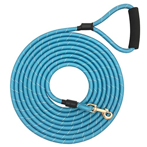 Shorven Nylon Strong Dog Rope Lead Reflective Training Dog Leash with Soft Handle 8-20 FT Long Aqua Blue (Dia:0.5