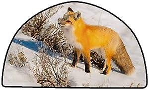 Non-Slip Bath Hotel Mats Fox,Red Fox in Nature Snowy Mountain Cold Winter Scenery Wildlife Carnivore Image,Marigold Brown White,W47 x L31 Half Round Rugs for Sale