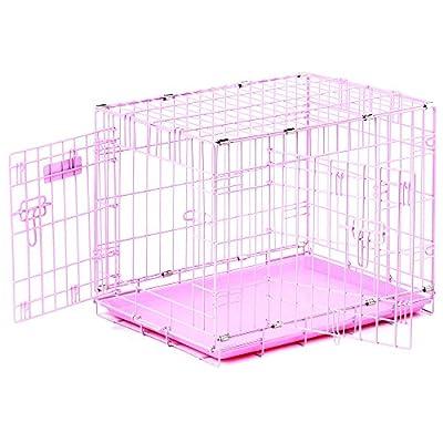"""Precision Pet """"ProValu,"""" Double Door Dog Crate Pink"""