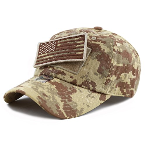 THE HAT DEPOT Low Profile Tactical Operator with USA Flag Patch Buckle Cotton Cap (Desert Digi Camo)